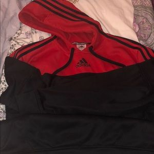 adidas red and black hoodie! ❤️🖤